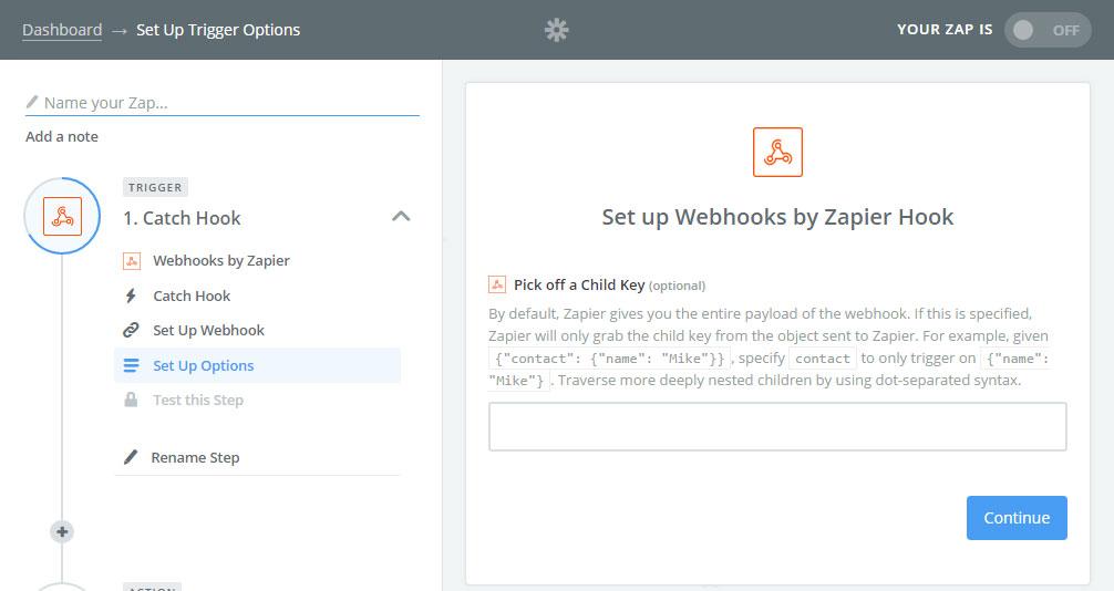 Zapier Webhooks - Child Key Optional