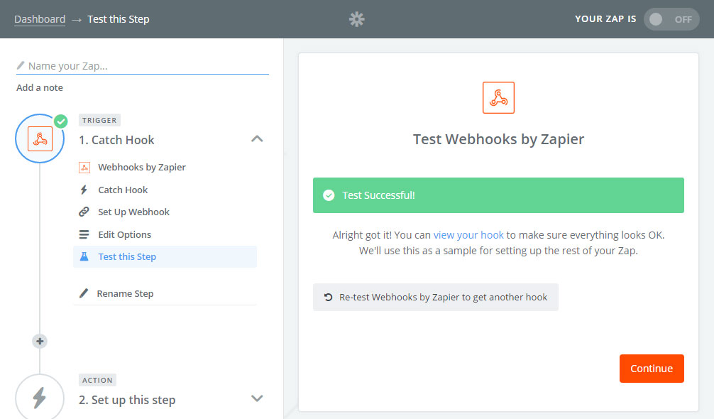 Zapier Webhooks - Test Successful